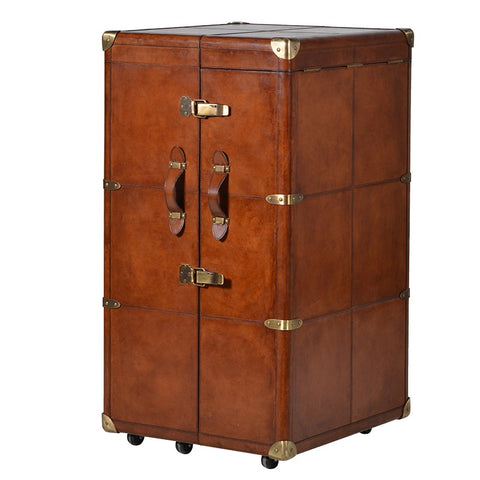 Tan Leather 6 Drawer Travel Trunk