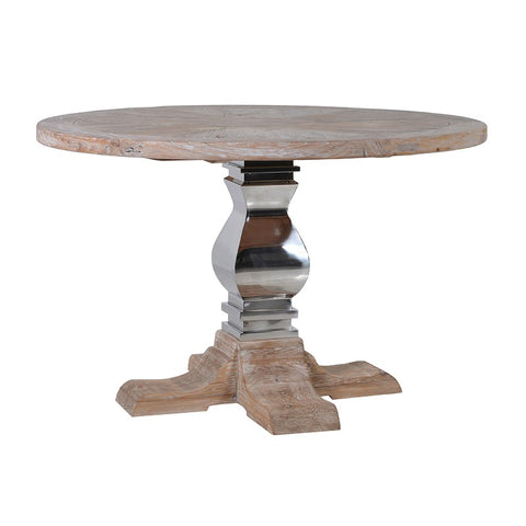 Steel and Wood Round Dining Table
