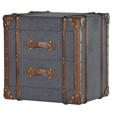 2 Drawer Grey Fabric Trunk