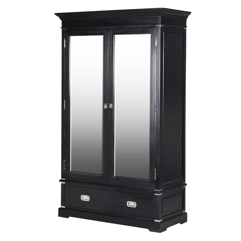 Black Kensington Mirror 2 Drawer Cabinet