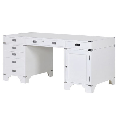 White Military Style Large Desk