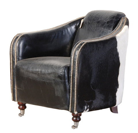 Black and White Leather Cowhide Chair
