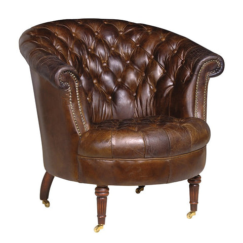 Brown Leather Buttoned Club Chair