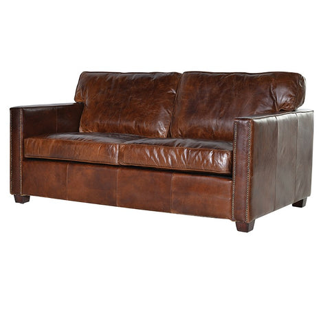 Brown tan Leather 2 Seater Sofa