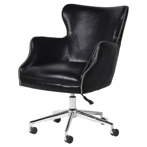 Black leather smart swivel Office Chair with stud detail