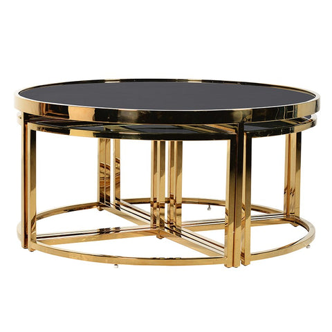 5 Piece Black and Gold Coffee Table Set