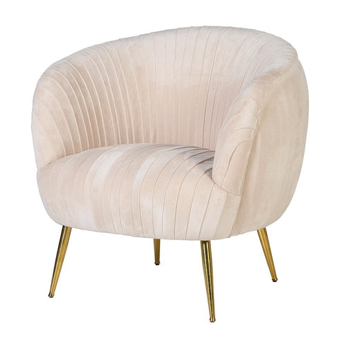 Powder Pink Velvet Pleated Chair