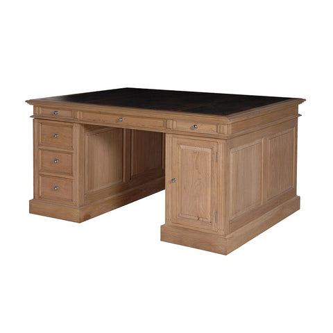 Large Weathered Oak Partner's Desk