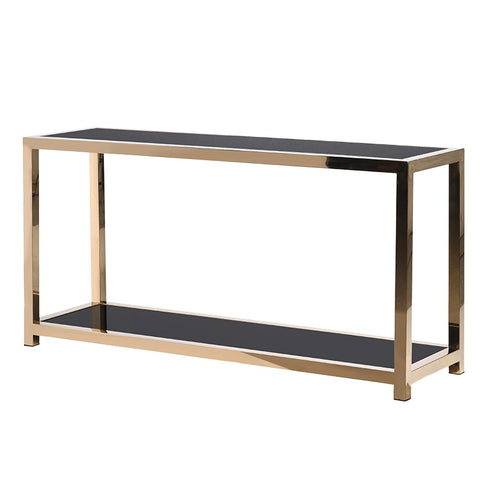 Gold Metal Console Table with Black Glass