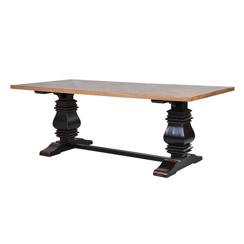 Black Dining Table with Parquet Top