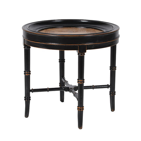 Black noir & Natural Side Table