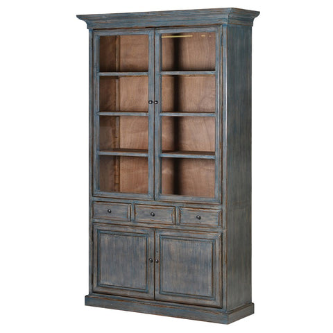 Blue Wash Book Cabinet