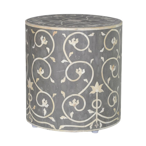 Bone Inlay Floral Pattern Stool