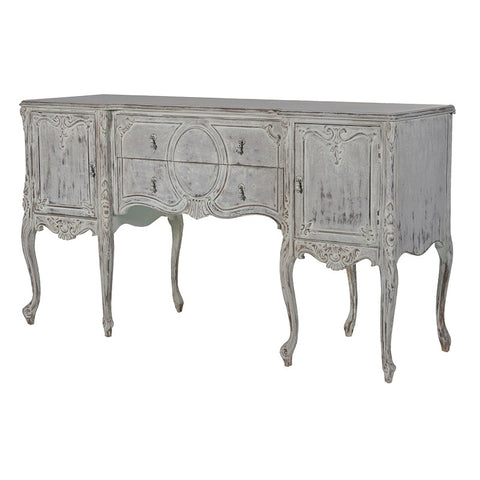 French Style Distressed Carved Sideboard