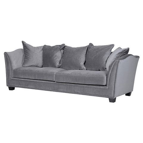 Grey 3 Seater Scrolled Sofa
