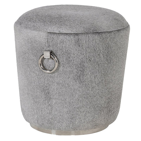 Grey Hairon Pouf