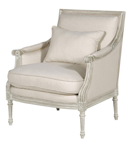 Cream Linen look French style armchair with light oak frame