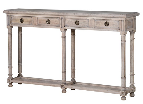 pale solid oak slim console with detail carving