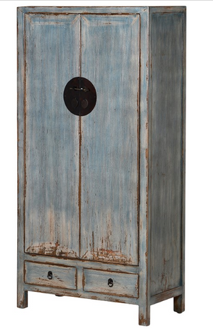 BLUE WASH 2 DOOR CABINET