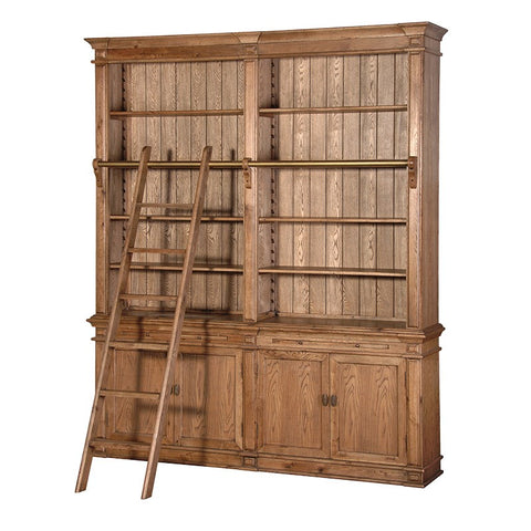 Antiqued Oak Library Bookcase with Ladder