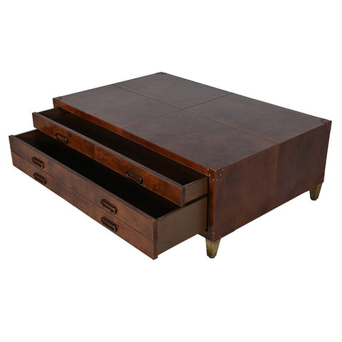 Tobacco  Tan Leather Coffee Table 2 Drawers