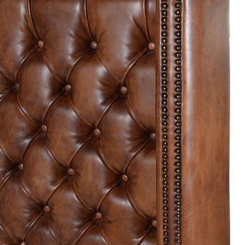 Italian Vintage Leather Headboard