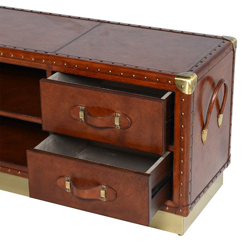Tan Leather and Brass Entertainment Cabinet
