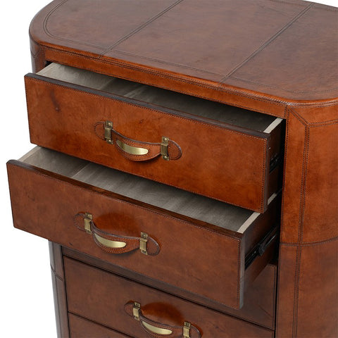 5 Drawer Leather Chest with Brass Handles