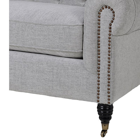 Carla Grey Button Back 3 Seater Sofa