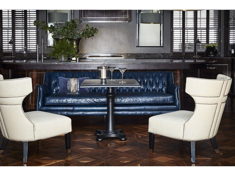Halcyon Blue navy Leather Three Seater chesterfield style sofa