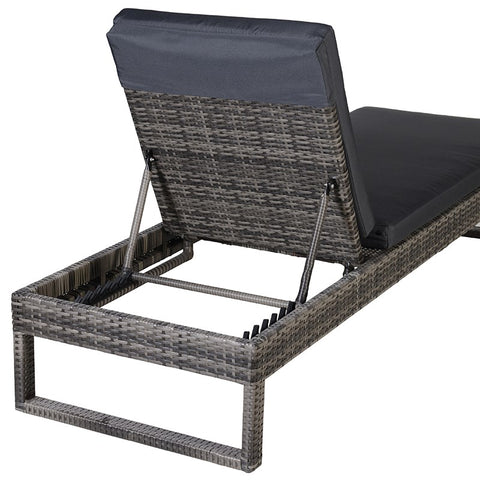 3 Piece Rattan Effect Lounger Set with 2 Beds and Table