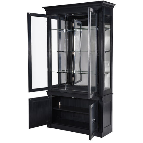 Black Kensington 2 Drawer Display Cabinet