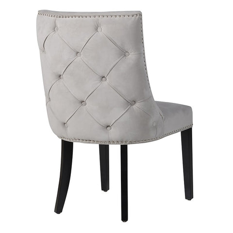 Grey Chrome Studded Button Back Chair
