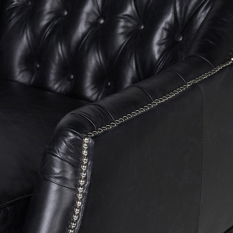 Black Buttoned Back Leather Chair studded edge