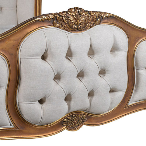 6Ft. Super King-Size Gilt Upholstered Buttoned Bed