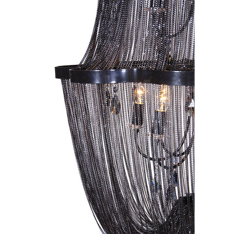 Black Chain Tiered Chandelier