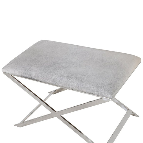 Grey Hide Elegant Cross Stool