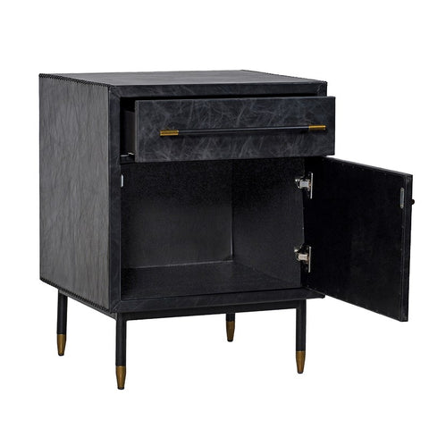 Black Leather Trunk Side Cabinet
