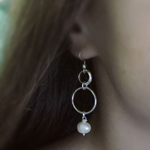 Freshwater Pearl Circle Drop Earrings - Silver
