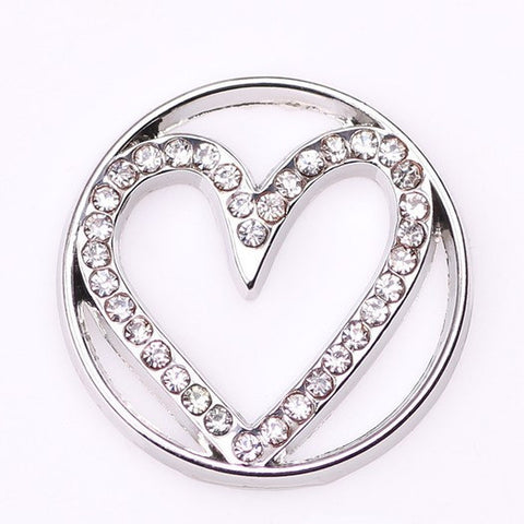 Heart Floating Plate for Memory Lockets - Silver
