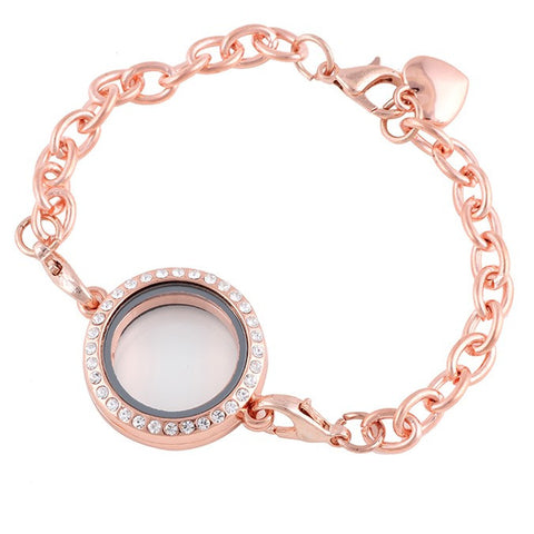 Diamante Floating Locket Bracelet - Rose Gold