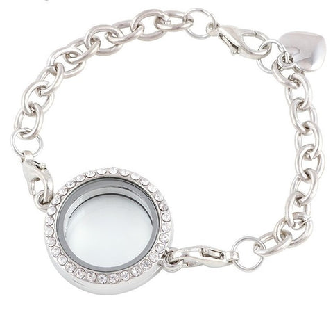 Diamante Floating Locket Bracelet - Silver