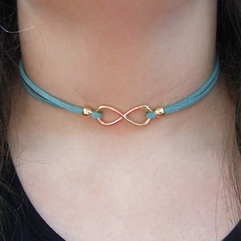 Suede Infinity Choker - Rose Gold