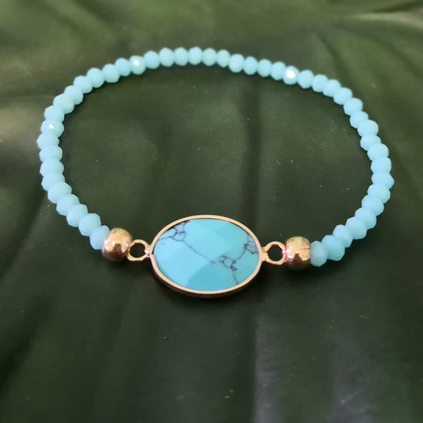 Turquoise Stone on stretch crystal bead bracelet