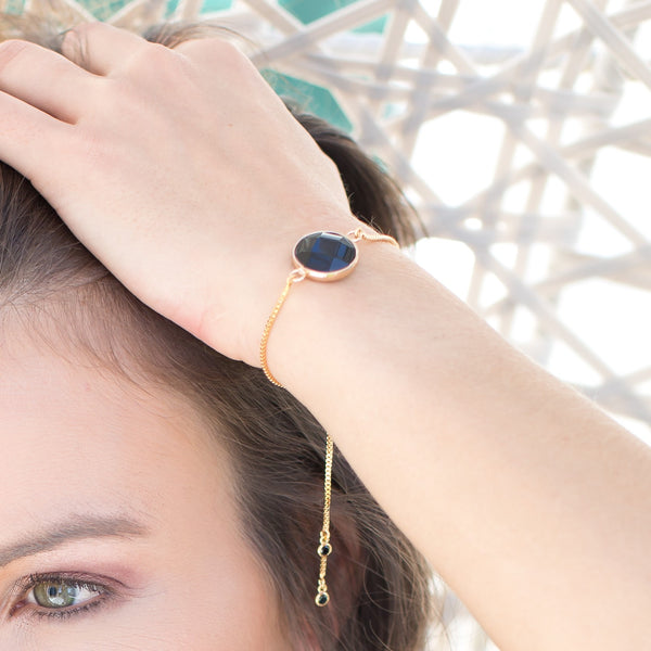Faceted Black Onyx Stone Adjustable Gold Bracelet