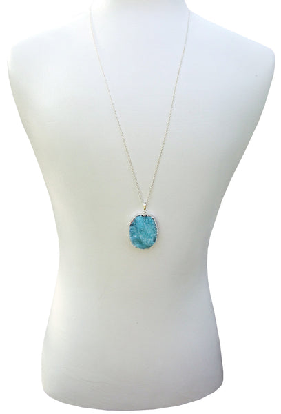 long silver chain turquoise druzy drusy necklace