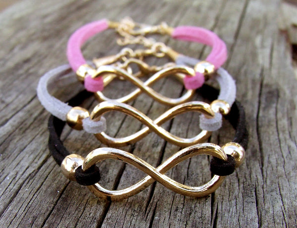 Eden Art rose gold infinity suede bracelet pink grey black