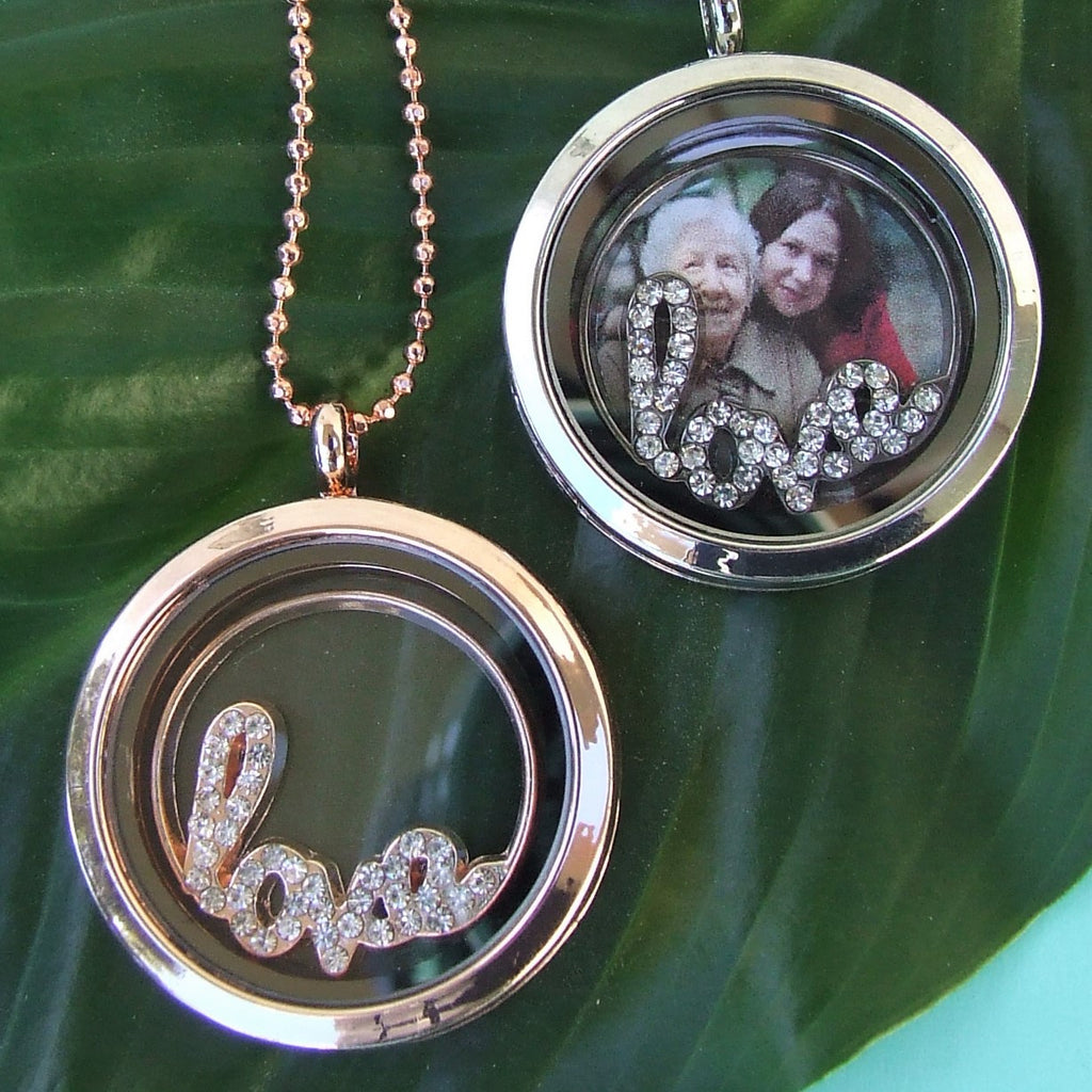 Diamante Love Plate Set with Large Memory Locket Necklace - Silver or Rose Gold