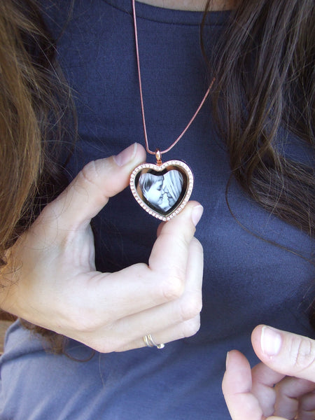 Diamante Heart Floating Locket Necklace - Rose Gold