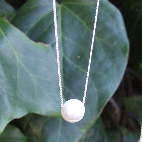 Freshwater Pearl Bead Necklace - Sterling Silver 925